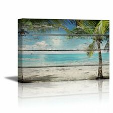Canvas Prints- Tropical Beach with Palm Tree on Vintage Wood Background- 24 x 36