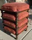 Ethan Allen Stacking Foot Stools Fabric Ottoman Vintage MCM Mid Century SET of 4