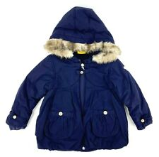 Steiff Winter Bear Coat Kids Size 2T Navy Blue Faux Fur Hood Zip Up Puffer