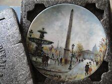 """Porcelain Collectible Plate, Limoges, France, """"La Place De La Concorde"""""""
