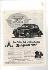 NOV 1948 SATURDAY EVENING POST 1949 GREEN RENAULT REAR-ENGINE AD PRINT D292