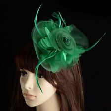 Fascinator BLACK Sinamay Hat Flower Feather Clip - Wedding Races Party Brand New