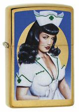 Zippo Feuerzeug OLIVIA BETTIE PAGE Brushed Brass Nurse Sexy Pinup Girl NEU OVP