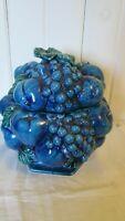 "Mood Indigo Blue Pedestal Cookie Jar INARCO E-2375 Made in Japan 1970s 8 1/2"""