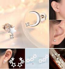 Women 925 Sterling Silver 3 Stars Ear Stud Climber Stud Earrings Gift Bag