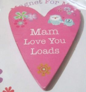 Mothers Day Wooden Heart Fridge Magnets - Mam or Mammy Love You Loads