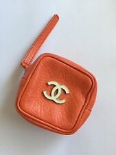 Rare Vtg Chanel CC Logo Orange Leather Mini Bag Case Clutch