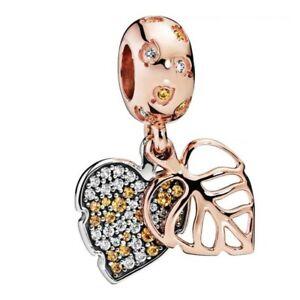 Gold Leaf 925 Flowers Dangle Silver charm bead pendant For bracelet Chain bangle