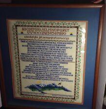 Signed Sampler Large Writing Poem - Skill Cross Stitch 1982 PA NEEDLE WORK