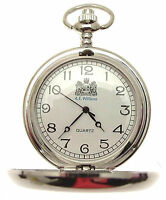 Mens Pocket Watch Quartz Movement Silver in Colour Many Designs - List A