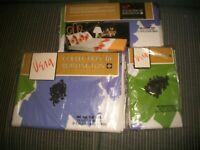 Vtg Vera Burlington (2) Full Flat Sheets + 2 Pillow Cases ~LONG STEMS~NOS