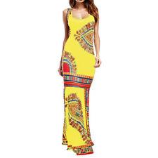 Women Bohemian Floral Sleeveless O-Neck Maxi Long African Evening Party Dress CA