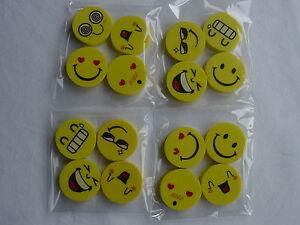 Eraser / Rubber, Emoji Smiley face, party bag, Stationery, Girls / Boys, pack 16