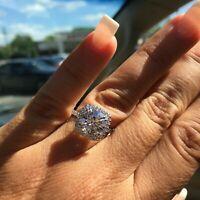 3.00 Ct Round Cut White Moissanite Halo Wedding Engagement Ring 14k White Gold