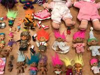 Lot of 25+ Vintage Troll Dolls Treasure Soldier Jewel Battle Army Catalog