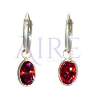 925 Sterling Silver Small Sleeper Style Hoop Earrings with Red Oval Stone