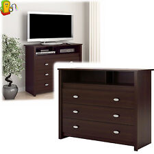 3 Drawer Dresser Chest TV Stand Media Storage Modern Bedroom Furniture Espresso