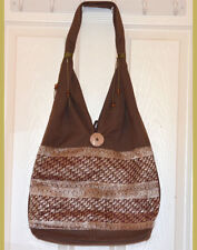 Hand Made Hand loom Cotton Shoulder Bag with Brocade design in Brown Color