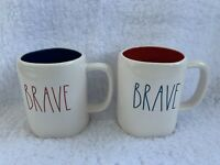 NEW (2) Rae Dunn BRAVE Mug Set Red Interior Blue Interior HTF *EXPERT SHIPPER*