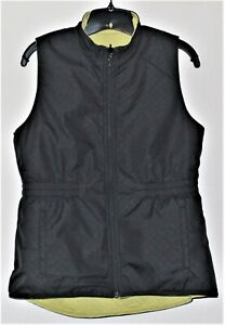 Cycling utility vest, black and neon yellow, reversible. Size small