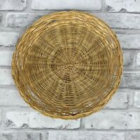 Vintage Wicker Rattan Straw Bamboo Paper Plate Holder Camping Picnic