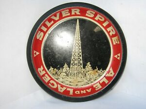 """Rare VINTAGE Silver Spire Ale & Lager Tip Tray - 4.75"""""""