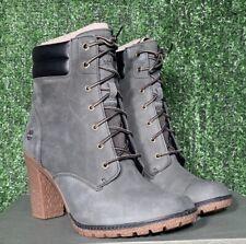 Timberland Women's Tillston High Heel Dark Green / Gray Boots  A1QJE  Size 10M