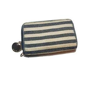 Deux Lux small Black Stripe Zip-around Wallet gold hard ware