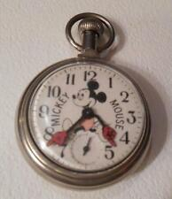 Rare Old Walt Disney Mickey Mouse Model 90001 Pocket Watch WORKS ***SPECIAL***