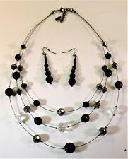 Silpada Three Strand Necklace & Earrings - Black & Chrystal Beads