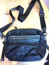 Agnes B Voyage Black Nylon Cross Body Shoulder Bag with Leather trim