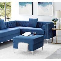 Velvet Storage Square Ottoman Bench Upholstered Footstool Modern Chrome Legs