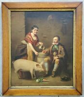 Antique 1800's 19c Oil Painting Portrait Man Drinking Beer with Woman & Pet Pig