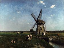 Landscape with Windmill near Schiedam Tile Mural Bathroom Backsplash 34x25.5