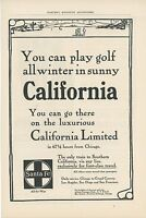 1906 Santa Fe Railroad Ad Golfing in Southern California Gold Railway Travel