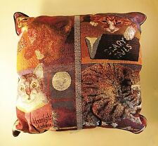 Cats with Books Tapestry Throw Pillow