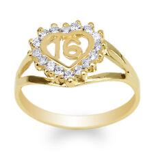 Womens 10K Yellow Gold Round CZ Sweet 16 Beautiful Heart Ring Size 4-10