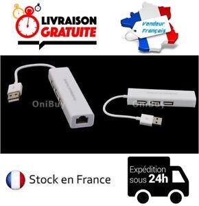 CABLE ADAPTATEUR CONVERTISSEUR USB / RJ45 HUB LAN / 3 PORTS USB 2.0