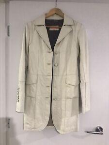 Cream leather jacket Trench size 8 Politix
