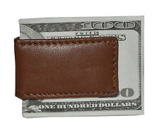 Men's New Leather Strong Magnetic Money Clip Brown