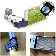 65X 200X Zoom Optical Clip-on HD Microscope Phone Camera Lens+LED For Cell Phone