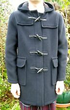 Duffle coat Boys Wool mix hooded Age 14 to 16 NAVY tartan lining by MONTGOMERY