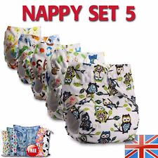 5 Reusable Washable Real Cloth NAPPY Wrap Standard +10 Microfibre inserts