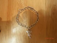"Baby Girls Sterling Silver Fairy Charm TBar Bracelet Weight:6.83g Length:6""/15cm"