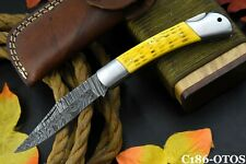 Custom Folding Knife Hand Forged Damascus Steel Jigged Bone Handle (C186-S)