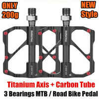 PROMEND Carbon Fiber Titanium Bicycle MTB Road Bike Pedals Sealed 6 Bearing 200g