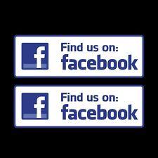2x Find us on Facebook 205x70mm Sticker - Shop Window Social Media Advertising