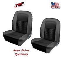 1967 Mustang Front Bucket Seat Deluxe Sport Upholstery- Pair- Black -IN STOCK!!