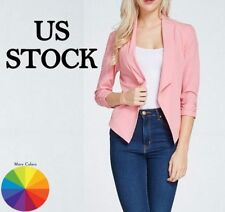 Womens Blazer Jacket Lightweight Office Outwear Chic Fitted Formal Slimming USA