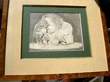 KAT & KIND . CHAT & ENFANT.  DESSIN   signe daté   MICHIELS . F   Encadr 39x45cm
